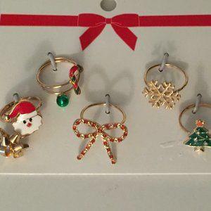 H&M 7x Christmas Rings S/M or M/L - Santa Bow Tree
